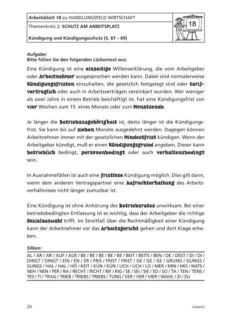 Arbeitsblatt 18 Zu Handlu