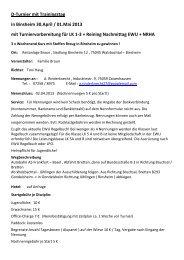 D-Turnier mit Trainingstag in Binsheim 30.April / 01.Mai 2013 mit ...