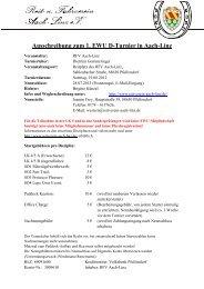 Ausschreibung zum 1. EWU D-Turnier in Aach-Linz