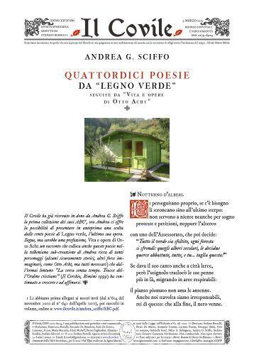 """Il Covile N° 687 - """"Legno verde"""" di Andrea G. Sciffo."""