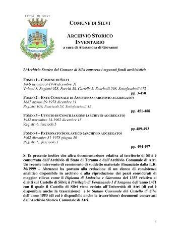 COMUNE DI SILVI ARCHIVIO STORICO INVENTARIO
