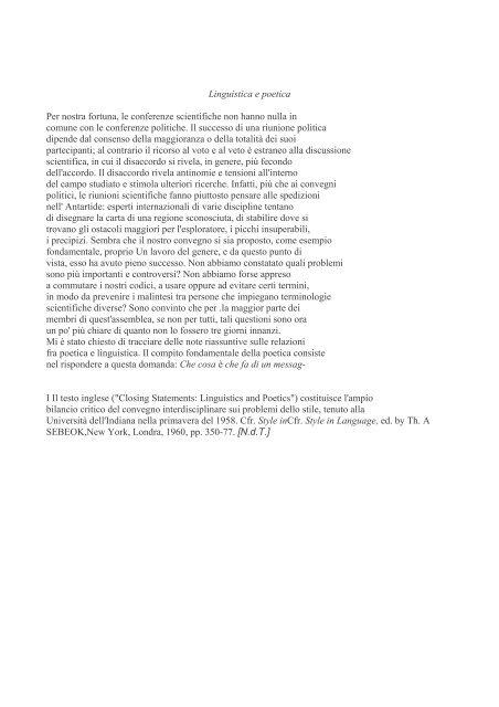 Linguistica e poetica Per nostra fortuna, le conferenze scientifiche ...