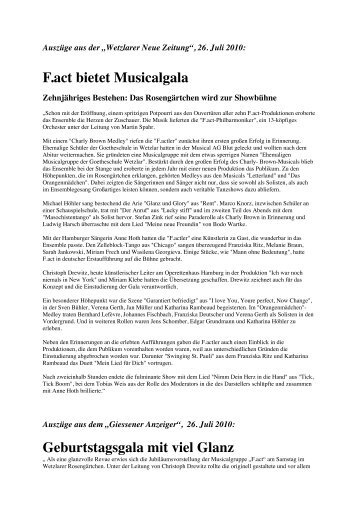 Kritik Musicalgala - Wetzlarer Festspiele
