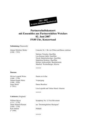 Partnerschaftskonzert mit Ensembles aus Partnerstädten Wetzlars ...