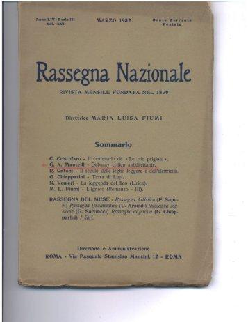 Rassegna, Naziona c - Alberto Mantelli