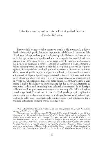 69 Italia e Germania: sguardi incrociati sulla storiografia delle riviste ...