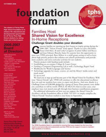 October 2006 Newsletter - Torrey Pines High School Foundation
