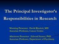 The Principal Investigator's Responsibilities in Research
