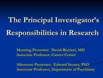 The Principal Investigator's Responsibilities in Research