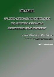 dossier. dal libro verde sulla modernizzazione del diritto del lavoro ...