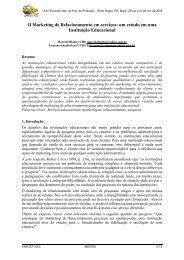 O Marketing de Relacionamento em serviços: um estudo ... - Abepro