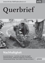 Querbrief Nr. 2/2007 - Nachhaltigkeit - Weltfriedensdienst e.V.