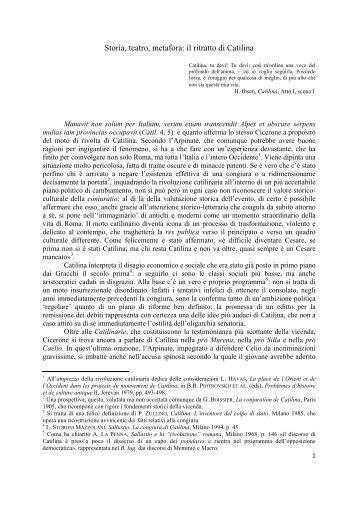 Storia, teatro, metafora: il ritratto di Catilina - Liceo magistrale