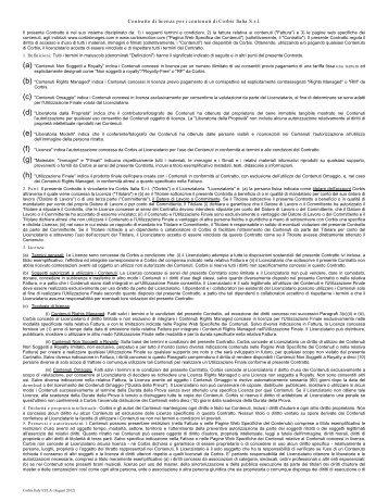Contratto di licenza per i contenuti di Corbis Italia S.r.l.