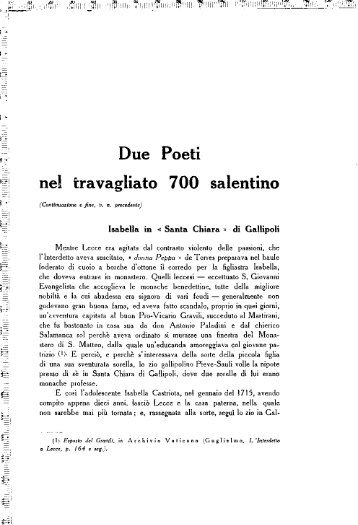 Due Poeti nel travagliato 700 salentino - culturaservizi.it