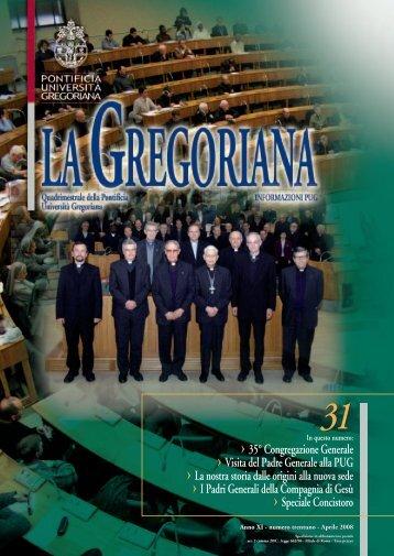 Università Gregoriana - Rivista La Gregoriana - n.31 - Aprile 2008