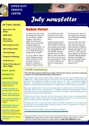 July newsletter - Parents Centres New Zealand Inc