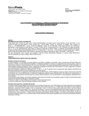 foglio informativo poste italiane Foglio informativo delle principali caratteristiche dei bfp ordinari  resta fermo il diritto di poste italiane e del cliente di sottoporre le controversie alla .