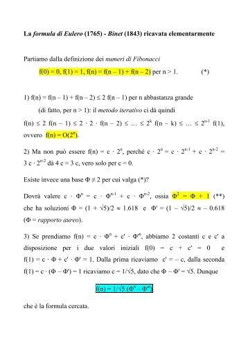 La formula di Eulero (1765) - Binet (1843) ricavata elementarmente