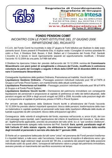 GRUPPO INTESA SANPAOLO Fondo pensioni Comit - Fabi