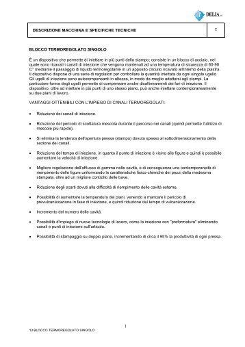 DESCRIZIONE MACCHINA E SPECIFICHE TECNICHE ... - Delia S.r.l.