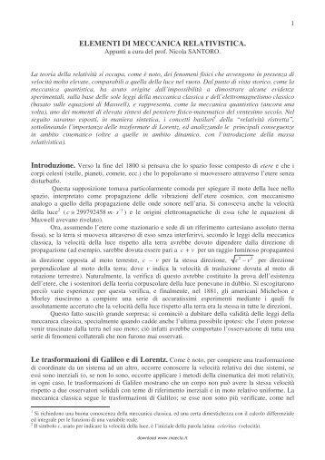 ELEMENTI DI MECCANICA RELATIVISTICA. - Maecla