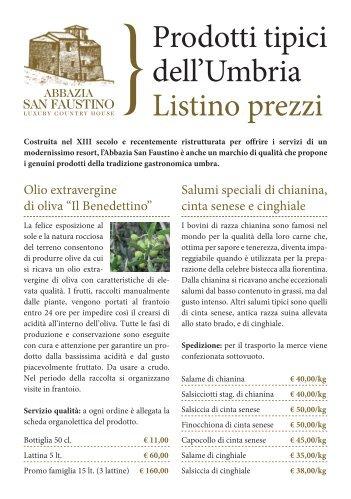 Prodotti tipici dell'Umbria Listino prezzi - Abbazia San Faustino