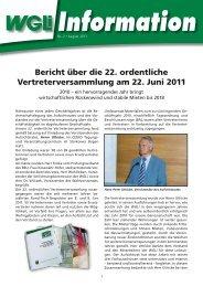 Info 2/2011 Bericht über die 22. ordentliche Vertreterversammlung