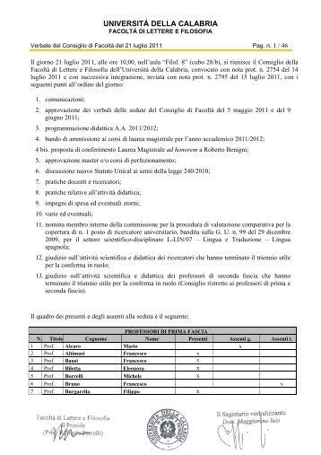 UNIVERSITÁ DELLA CALABRIA - Lettere e filosofia - Università ...