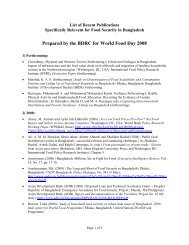list of recent publications specifically relevant for food security in