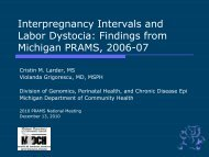 Interpregnancy Intervals and Labor Dystocia ... - State of Michigan