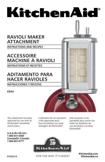 RAVIOLI MAKER ATTACHMENT ACCESSOIRE ... - KitchenAid