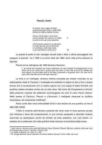 Pascoli, Arano La poesia fa parte di otto madrigali raccolti sotto il ...