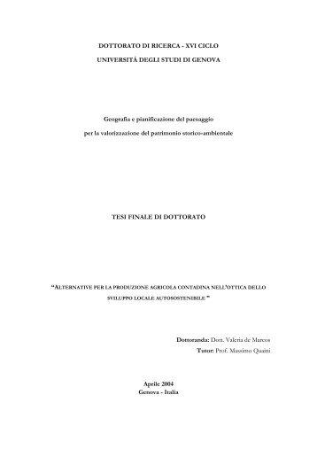 DOTTORATO DI RICERCA - Departamento de Geografia