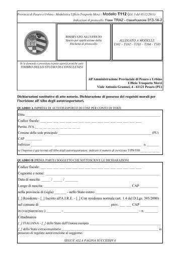 Dichiarazioni sostitutive di atto notorio. Dichiarazione di possesso ...