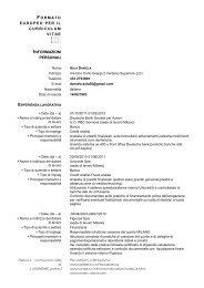 Formato Europeo per il Curriculum Vitae - Modello - Mad in italy