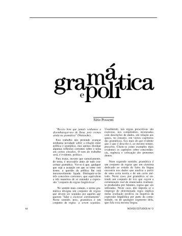 Sírio Possenti - Revista Novos Estudos