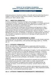 Regolamento - Facoltà di Lettere e Filosofia - Università degli studi ...