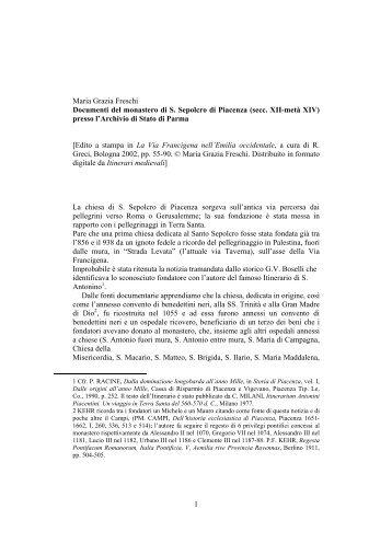 Documenti del monastero di S. Sepolcro in ... - Itinerari Medievali