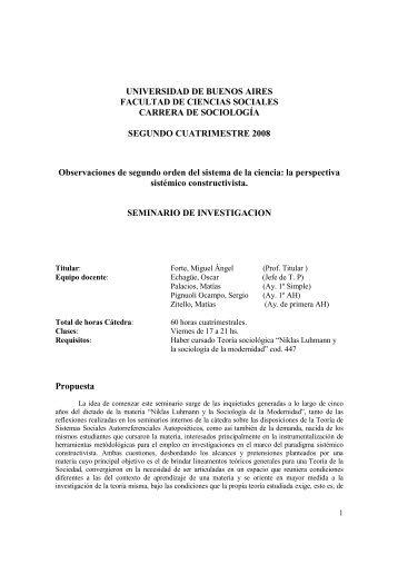 la perspectiva sistémico constructivista - carrera de sociología - UBA ...