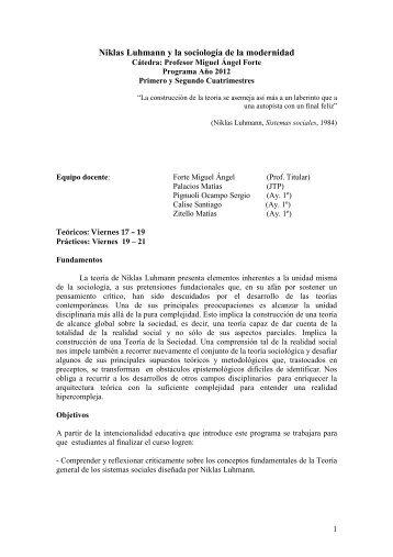 Niklas Luhmann y la sociología de la modernidad - Forte