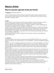 Natura e Anima Riserva naturale regionale Grotta dei Puntali - CRIEA