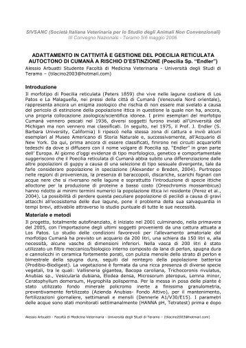Adattamento in cattività e gestione del Poecilia reticulata ... - Endler