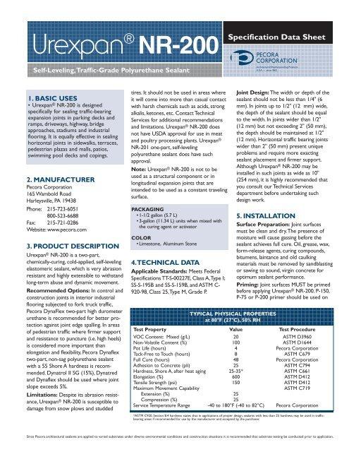 Pecora Urexpan® NR-200 - Pecora Corporation