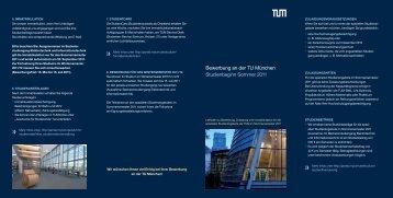 Bewerbung an der TU München Studienbeginn Sommer 2011