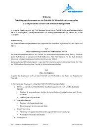 Statut des Faculty Graduate Center - TUM School of Management