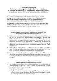 Ordnung für TUM twoinone TUM-BWL als Spezielles Studienangebot