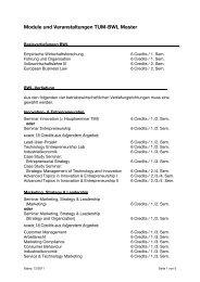 Module und Veranstaltungen TUM-BWL Master - TUM School of ...