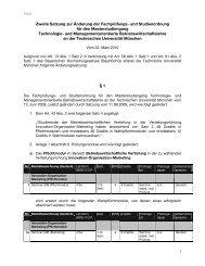 Zweite Satzung zur Änderung der Fachprüfungs - TUM School of ...
