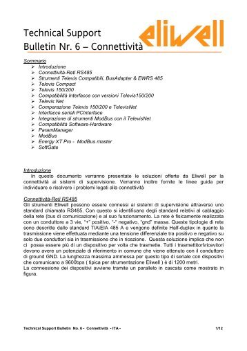 Technical Support Bulletin Nr. 6 – Connettività - Eliwell.It